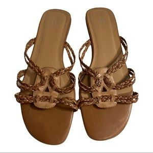 EA Etienne Aigner Brown Braided Leather Sandals 9M